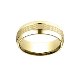 18k Yellow Gold 7.5mm Comfort Fit With High Men's Wedding Band Ring Sz-8