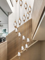 Modern Luxury Long Hanging Lamps Led Bubble Crystal Stair Living Room Chandelier