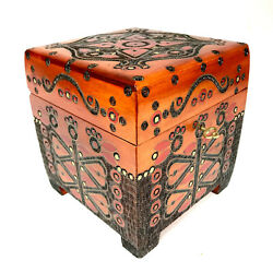 Wooden Lockable Jewelry Chest Reachly Hand Carved And Decorated Nice Gift Idea
