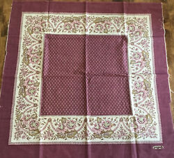 Vtg Les Olivades Cotton Oulivado Fabric Squares Burgundy French Floral 31andrdquo 2