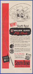 Vintage 1951 South Bend Hollow Fly Fishing Rods Ephemera 50's Print Ad