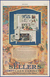 Vintage 1920 Sellers Kitchen Cabinets Cupboard Hutch Autumn Art 20's Print Ad