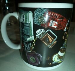Starbucks Coffee Mug Cup Pouring Making Beans Graphic Industrial Art