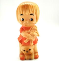 1968 J L Prescott Rubber Squeaker Doll Girl With Her Dolly And Cat Vintage Toy