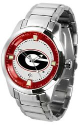 Georgia Bulldogs Mens Titan Steel Watch With Dog Tag And Wallet