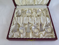 Six Antique Spoons Ns. Alp Silverplate Spoons Cutlery Ancient Board R70