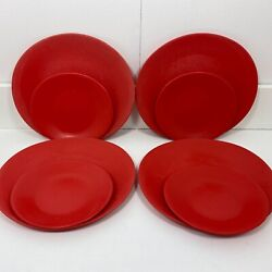 Vintage Colourware Red 4 Dinner And 4 Small Plates Melmac Camping Picnic Oblong