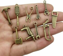 5 Tool Charms Antique Bronze Tone Construction Worker Pendants 2 Sided Assorted