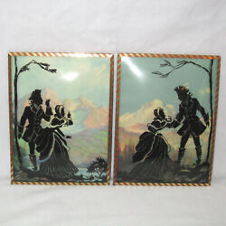 Vintage Pair Of 8x6 Silhouette Reverse Convex Glass Pictures Man/lady Mountains