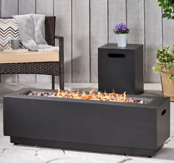 Modern Fire Pit Table With Tank Cover Lava Rocks Patio Outdoor Yard Heater Brown