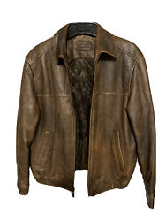 John Ashford Leather Bomber Jacket Menandrsquos Size M Brown Insulated