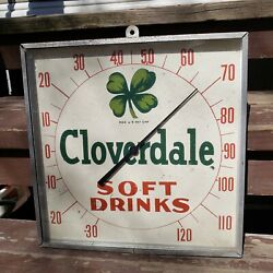 Vintage 1950and039s Cloverdale Soft Drinks Advertising Thermometer Gas Oil Soda Sign