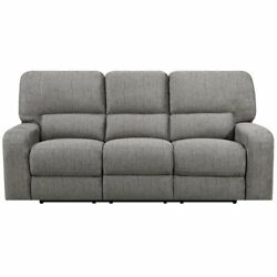 E-motion Furniture Polyester Fabric Power Back And Power Recliner Sofa In Stone
