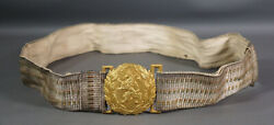 Wwii Bulgarian Royal Military Officer Parade Uniform Belt Buckle Crowned Lion