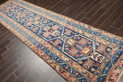3and0396 X 13and0397 Antique Runner Hand Knotted Wool Malayar Oriental Area Rug Blue