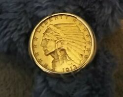 1913 2.50 Indian Head Gold Coin Ring.