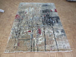 9 X 12 Hand Knotted Multi Colored Modern Abstract Oriental Rug With Silk G10476