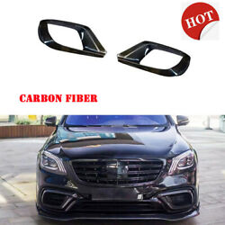 Carbon Front Lip Fog Lamp Vent Cover For Benz W222 S-class S63 S65 Amg 2018up