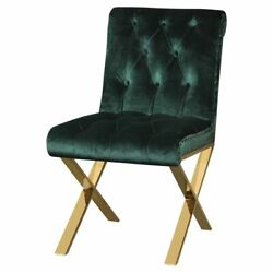 Benjara 20 Wood Dining Side Chairs With X Style Legs In Green/gold Set Of 2