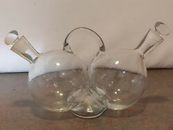 Vintage Hand Blown Clear Art Glass Oil And Vinegar Bottles Cruets With Stoppers