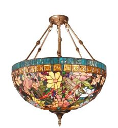 6 Light Bowl Pendant Dale Chandelier Antique Brass Finish Stained Glass