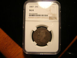 1807 Draped Bust Quarter Ngc Vg08 As Pictured.