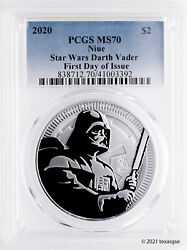 2020 Niue 2 Darth Vader 1oz Silver Coin Pcgs Ms70 First Day Of Issue