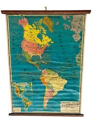 Vintage America Map Classroom Map School Chart School Map Wall Tapestry Map
