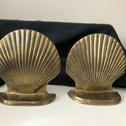Enesco Vintage Solid Brass Sea Shell Bookends