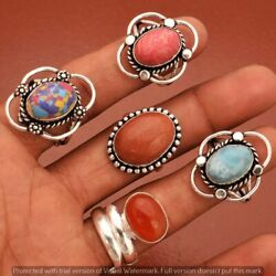 Rainbow Calsilica And Mix Rings 100 Pcs 925 Sterling Silver Plated Ring Rr-836