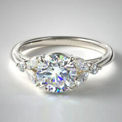 Coupe Ronde 0.80 Ct Brillant Platine Real Diamond Engagement Ring Taille L M N O