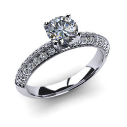0.90 Ct Coupe Ronde Real Diamond Engagement Ring 14k Or Blanc Taille M N O P K G