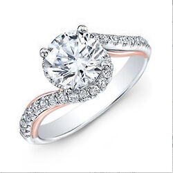 0.90 Ct Coupe Ronde Real Diamond Engagement Ring 14k Blanc Solide Or Taille M K