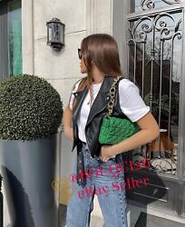 ZARA NEW WOMAN QUILTED MIDI SHOULDER BAG WITH CHAIN STRAPS GREEN REF: 6227 710 $79.00