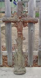 Virgin Mary Cast Iron Cross- Large Antique --with Cat Tails Etc--15581