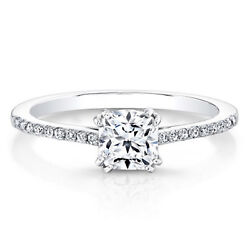 0.69 Carat Coussin Coupe Real Diamond Engagement Ring 950 Platine Taille M1/2 -