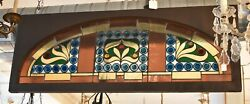Antique Victorian Leaded Slag Glass Stained Arched Window Rondels