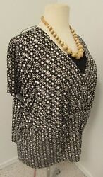 Sag Harbor Size 3x Crossover Black And Beige Top  92