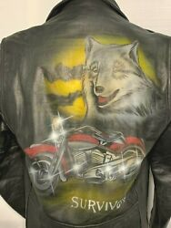 Vintage 80s Prime Parts Usa Leather Motorcycle Jacket Size 42 Painted Harley D