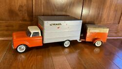 Vintage Nylint Ford U Haul Box Truck Toy W Coil Spring Suspension And Trailer