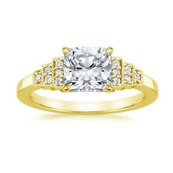 Femmes 14k Solide Or Jaune Coussin 0.89 Ct Diamant Mariage Bague Taille N O P
