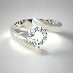 Coupe Ronde 0.50 Ct Platine Real Diamond Engagement Ring Pour Femme Taille M N O