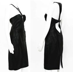 Tom Ford For 2004 Collection Black Leather Cocktail Dress It 44 - Us 8