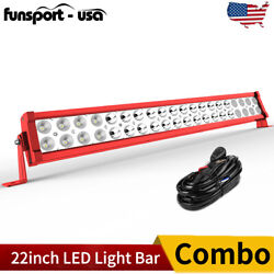 22''inch 120w Led Work Light Bar Spot Flood Combo Offroad Bumper Suv Ute Red 24