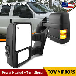 Pair Of Tow Mirrors For 08-16 Ford F250 F350 Superduty Power Heated Flat+convex