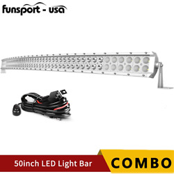 50inch Curved Led Light Bar Spot Flood Combo And Wiring Offroad Truck Atv 4wd 52''