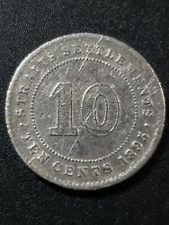 Straits Settlements 1895 Victoria 10 Cents 80 Silver 18mm Circulated Coin