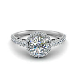 Coupe Ronde 0.85 Carat Real Diamond Engagement Ring 14k Or Blanc Taille M N O P1