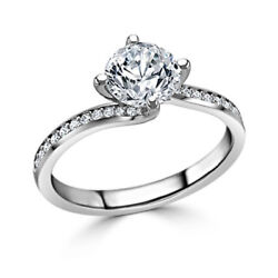 0.60 Ct Brillant Coupe Real Diamond Engagement Ring 14k Or Blanc Taille L M L- P