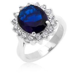 Real 3.48 Ct Diamond Blue Sapphire Gemstone Ring Solid 14k White Gold Size 7.5